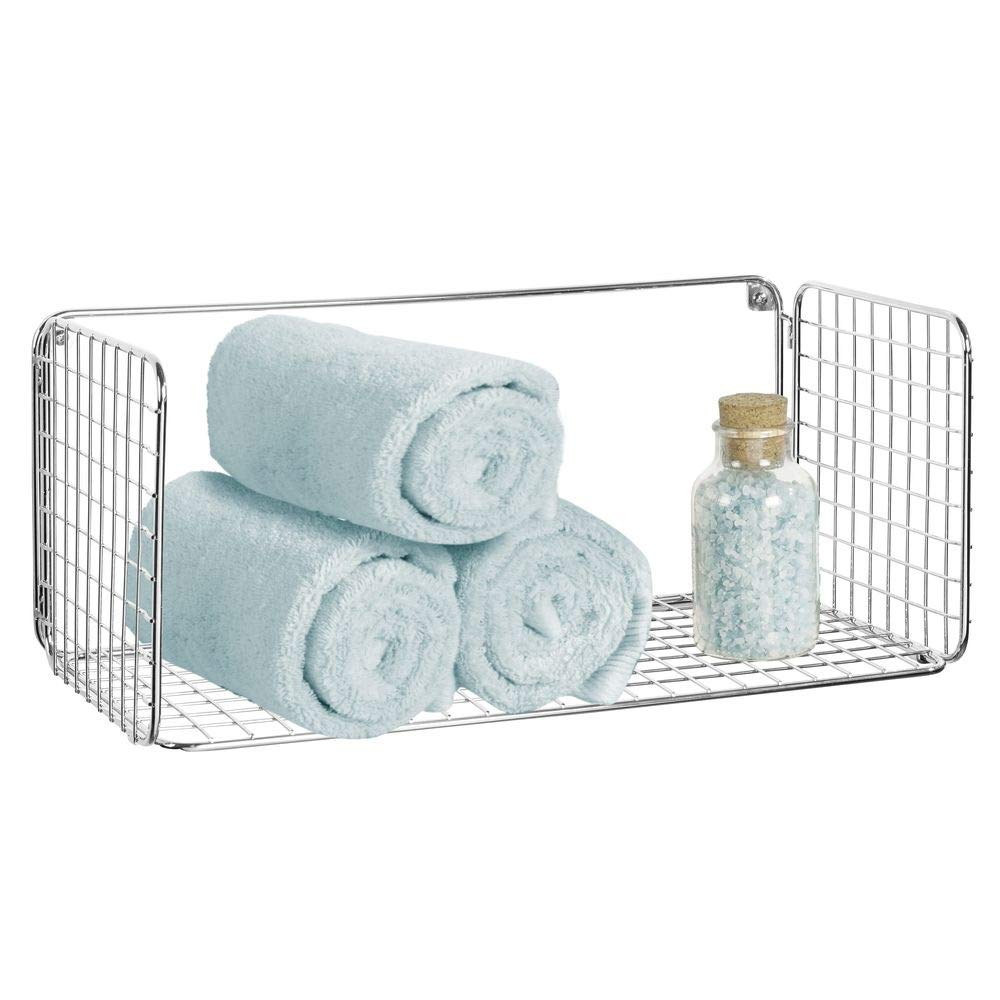 mDesign Wide Metal Wire Farmhouse Wall Decor Storage Organizer Shelf for Bathroom, Entryway, Hallway, Mudroom, Bedroom, Laundry Room - Wall Mount - Chrome