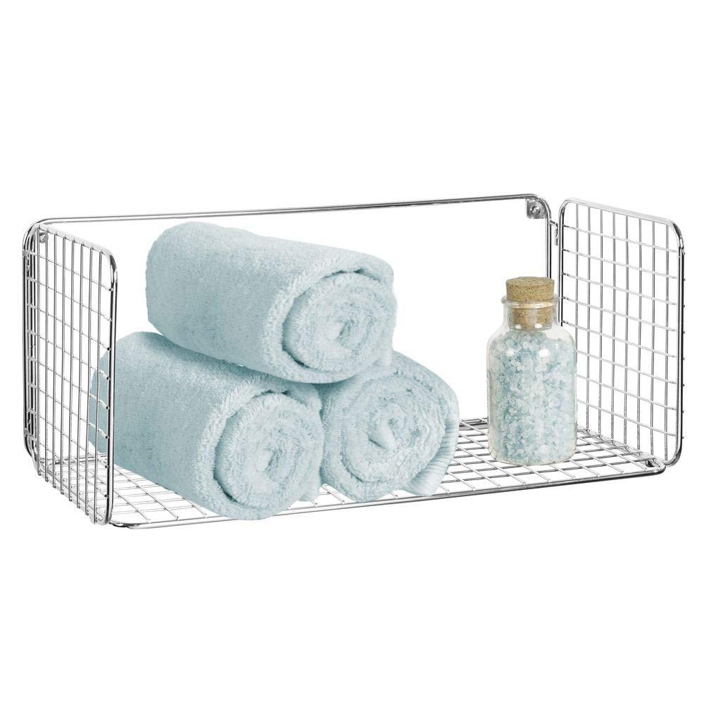 mDesign Wide Metal Wire Farmhouse Wall Decor Storage Organizer Shelf for Bathroom, Entryway, Hallway, Mudroom, Bedroom, Laundry Room - Wall Mount - Chrome