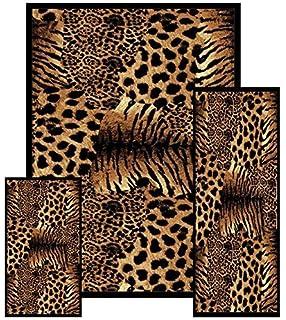 Furnishmyplace Southwestern Safari Animal Tiger Skin Printed Area Rug, 3  Piece