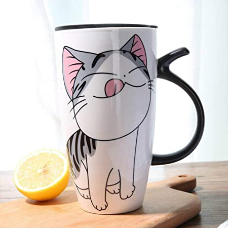 1 Pc Ceramic Mug Fresh Style Cartoon Cat Pattern Cute Coffee Milk Cup