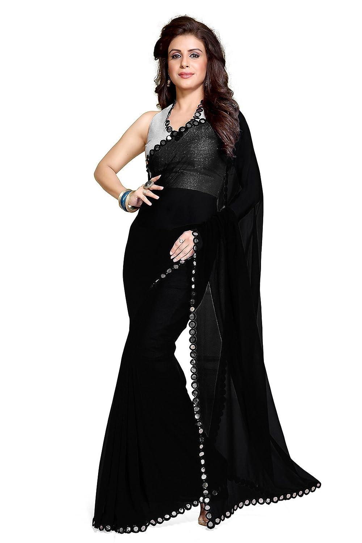 Mirchi Fashion Womens Mirror Border Latest Indian Saree Unstitched Blouse Piece