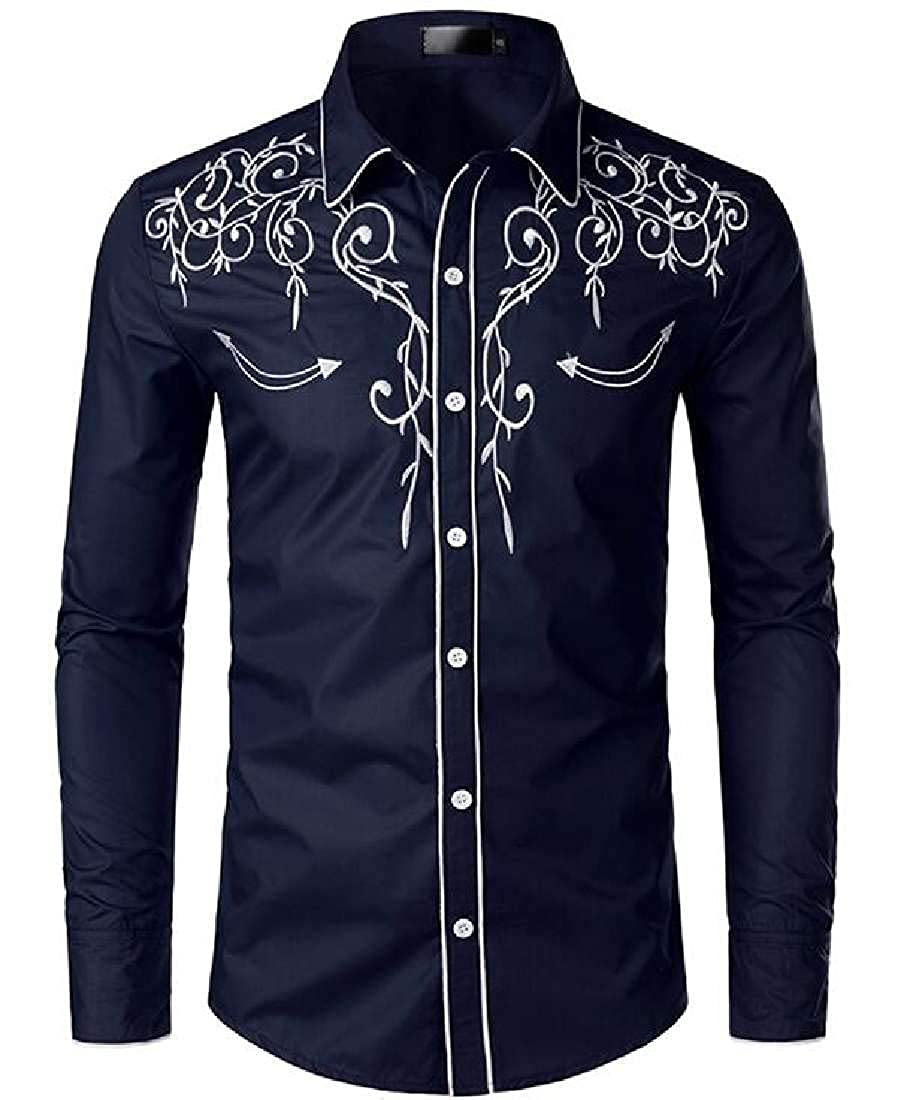 UUYUK Men Embroidery Button Down Long Sleeve Business Fashion Dress Shirts