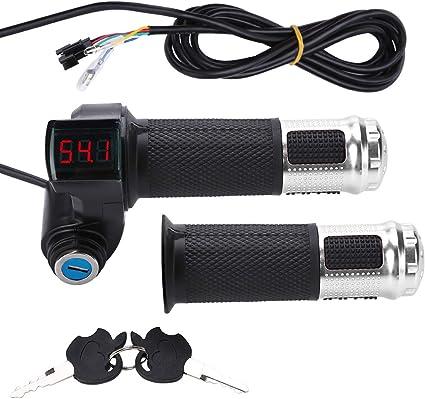 12V-99V Scooter Électrique Vélo throttle grip guidon DEL Digital Meter 2 clés