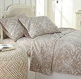 Southshore Fine Linens - Winter Brush Print 4 Piece Sheet Sets, King, Warm Sand Sheets w/ White Flowers
