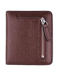 Women's RFID Blocking Small Genuine Leather Wallet Ladies Mini Card Case Purse (Coffee)