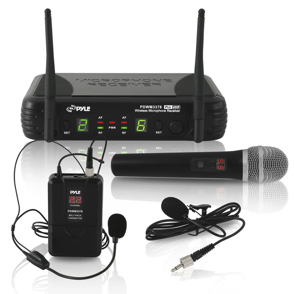 Pyle Dual Channel UHF Wireless Microphone System Handheld MIC, Headset, Belt Pack, Lavelier/Lapel MIC With 8 Selectable Frequency Independent Volume Controls AF & RF Signal Indicators (PDWM3378)