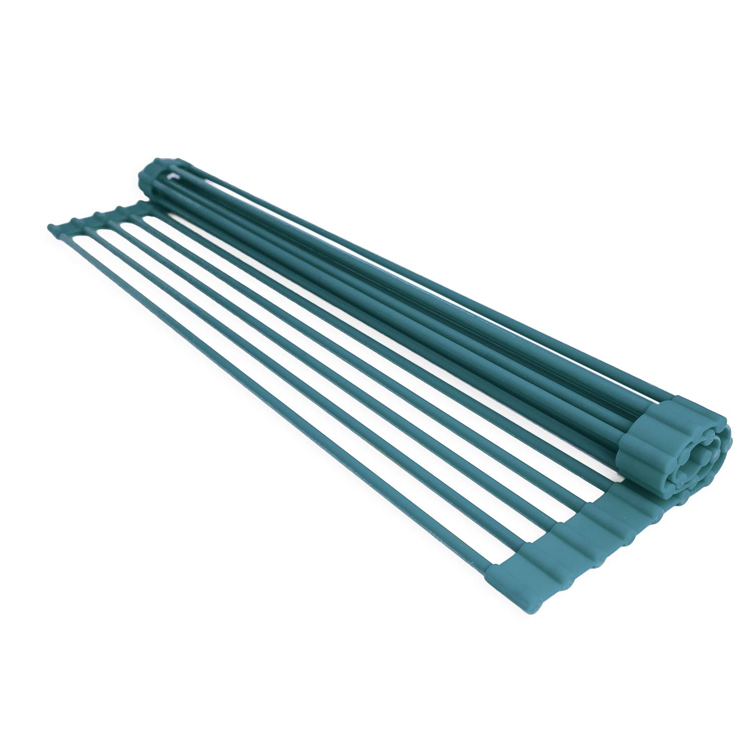 Over-the-Sink Dish Drying Rack by Domestic Corner - Roll-Up Dry Rack for Dishes, Plates, Cups, Pots, Pan and Produce - Turquoise