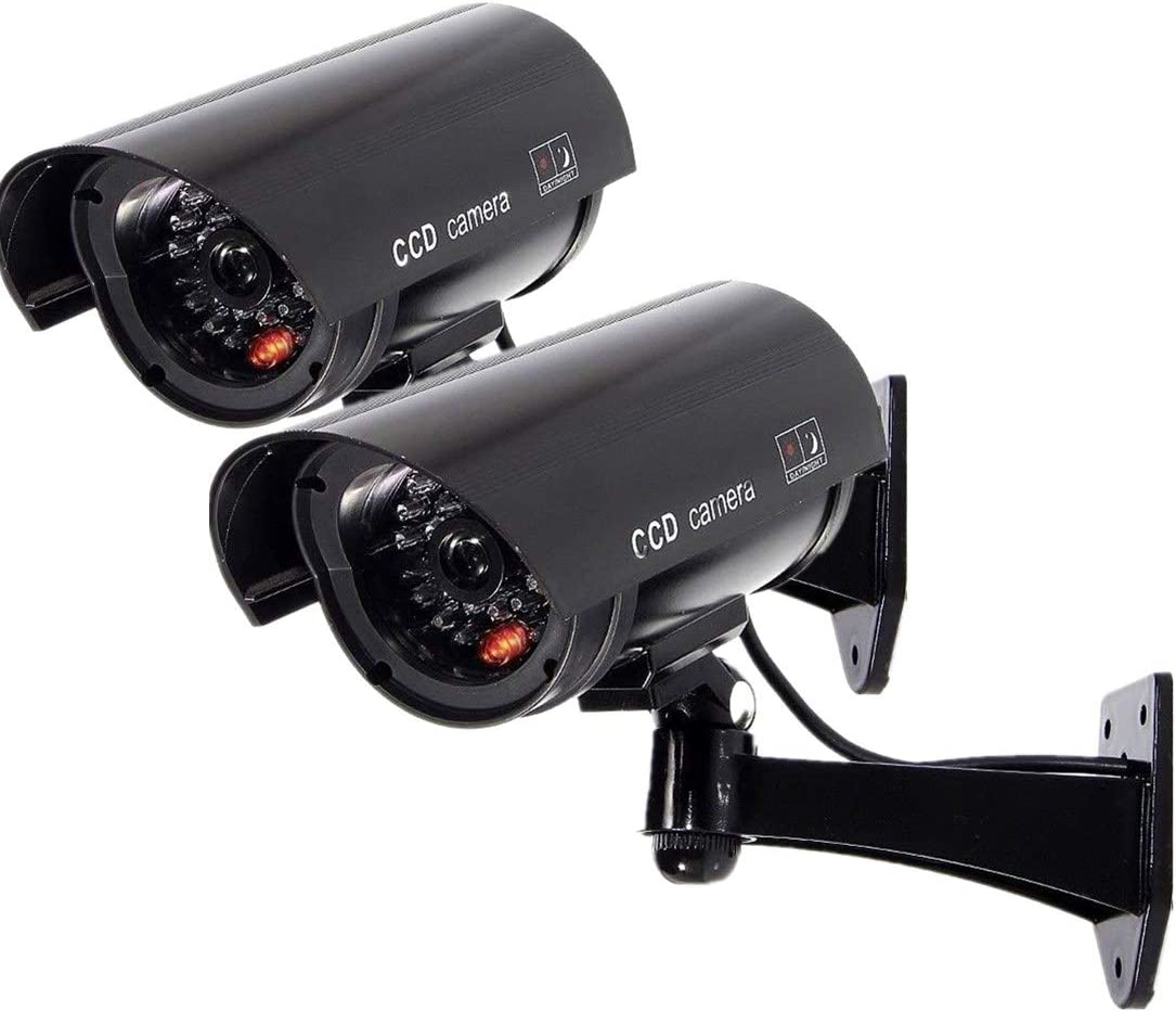 Fake Security Camera, Dummy CCTV Surveillance System with Realistic Red Flashing Lights and Warning Sticker Indoor Outdoor (2,Black)