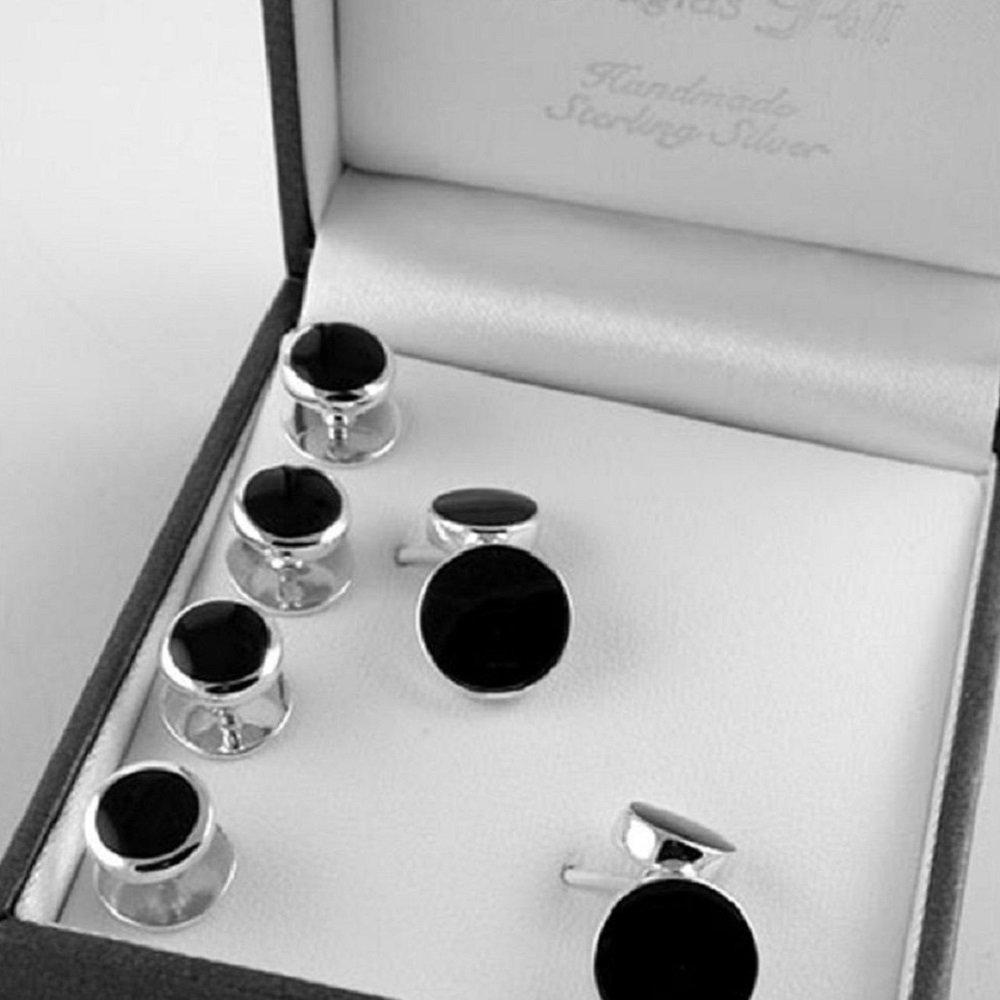 Baxters Jewellers Sterling Silver Onyx Shirt Stud & Cufflink Set Douglas Pell Box16