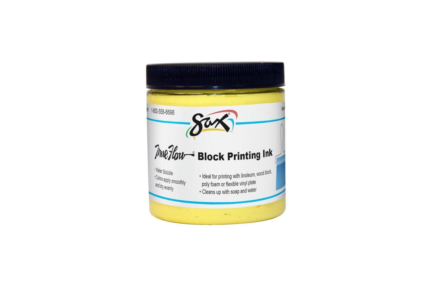 Sax True Flow Water Soluble Block Printing Ink - 8 Ounce. Jar - Yellow