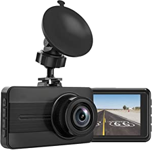 Dash Cam, 1080P Full HD Car DVR Dashboard Camera, Driving Recorder with 3 Inch LCD Screen, Motion Detection, Loop Recording