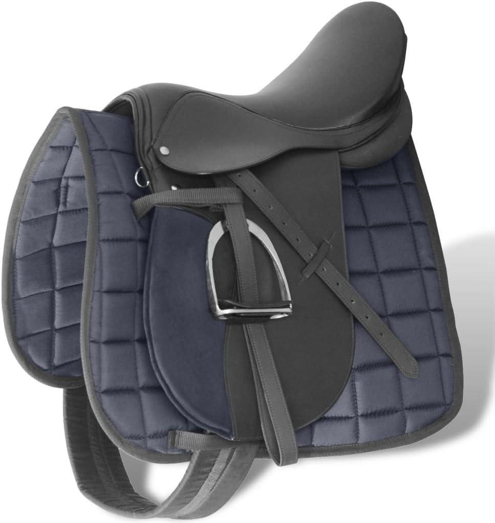 vidaXL Set de Selle Equitation Cuir V/éritable 5 en 1 Multi-Taille Noir//Brun