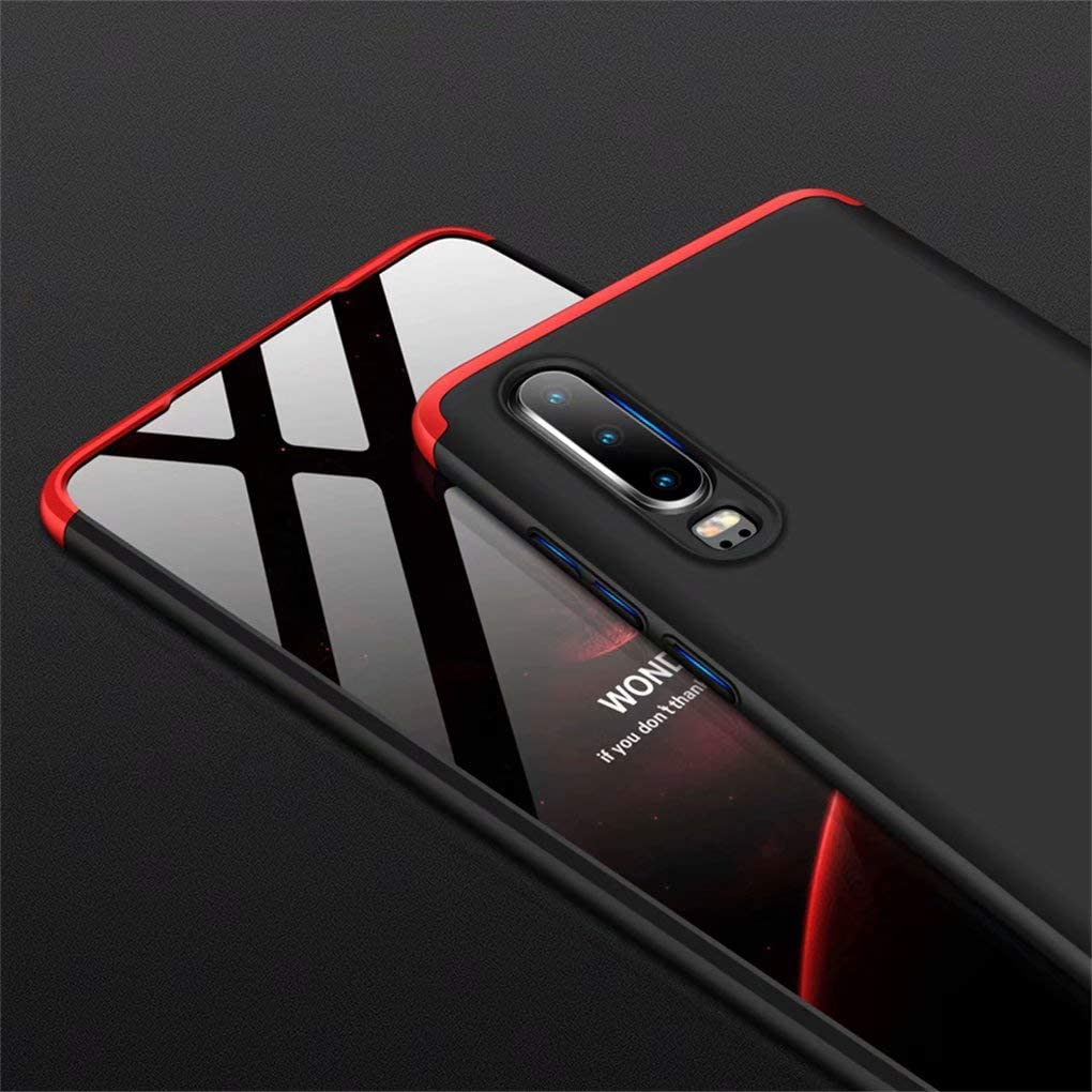 NiaCoCo Compatible with Huawei P30 TPU Silicone Shockproof Case Ultra Thin Anti Scratch Protective Case for Huawei P30-Red and Black