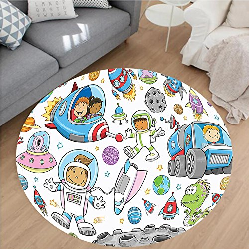 nel Microfiber Non-Slip Machine Washable Round Area Rug-Decor Cute Deep Space Astronaut Girl Boy Aliens Rockets on Moon Kids Nursery Theme Multi area rugs Home Decor-Round 43