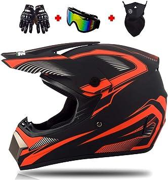 LEENY Casco de Motocross, Negro Rojo Casco de Cross de Moto Set con Gafas Guantes Máscara, Casco Integral Moto Off-Road Sport Enduro Downhill Casco ATV MTB BMX Quad Cascos de Motocicleta,XL: Amazon.es: