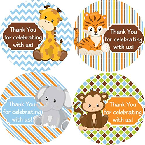 Jungle Baby Shower Favors (2 Inch Thank You Stickers Safari Animals Set of)