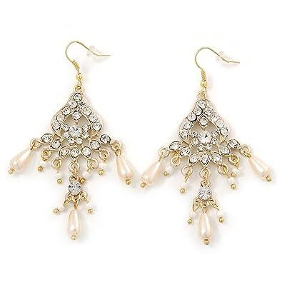 d7c980f561a8 Aretes para novia tipo candelabro con perlas de vidrio y cristales claros  con enchapado de oro  Amazon.es  Joyería