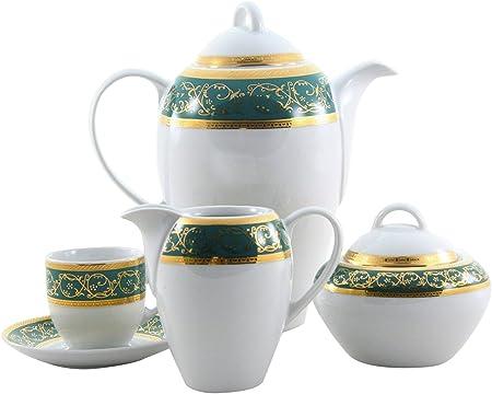 THUN Saphyr Greca Juego de Café, Porcelana, Verde, 30x30x30 cm ...