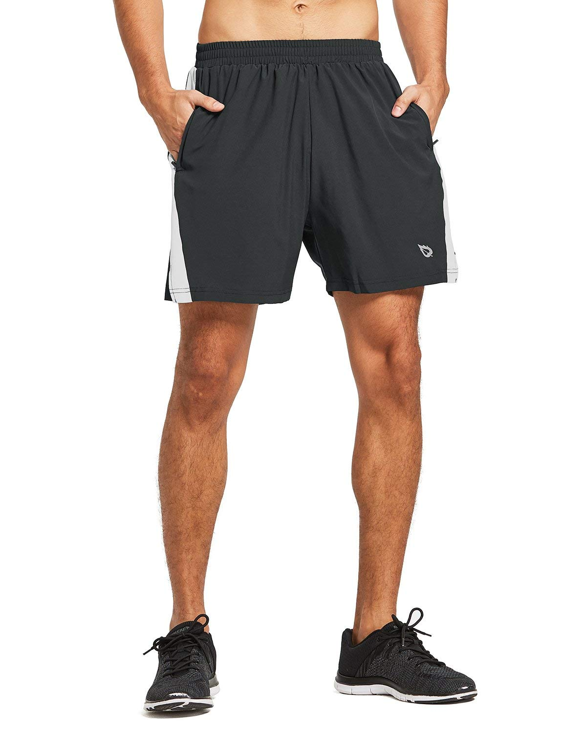 BALEAF Men's 5 Inches Running Athletic Shorts Zipper Pocket Black Size M by BALEAF