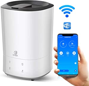 UFRESH Smart Humidifier, 5.5L Ultrasonic Cool Mist Humidifier, Top Fill Essential Oil Vaporizer for Large Bedroom Babies, App Remote Control, Ultra quiet, Night Light, Automatic Shut-Off