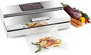 Ordercrazy Vacuum Sealer Machine Stainless 1100W Automatic Air Vacuum Sealing with Pulse Vacuum for Dry and Moist Fresh Food Storage Silver