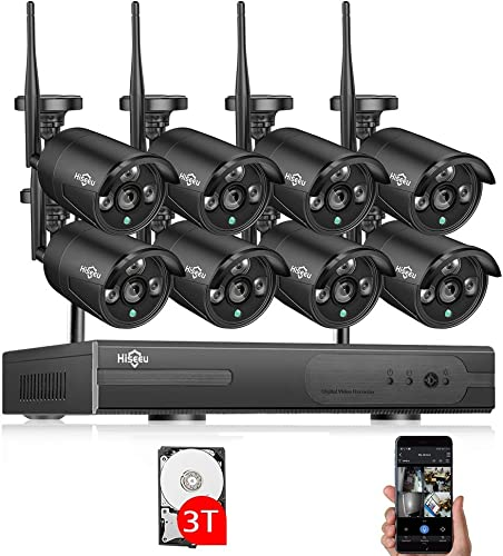 Update 3TB HDD Pre-Install Hiseeu Wireless Security Camera System,8CH 1080P NVR Home Security Camera System CCTV Kits with 8PCS 1080P Outdoor Inddor Wireless Bullet IP Security Cameras 2.0M Pixel