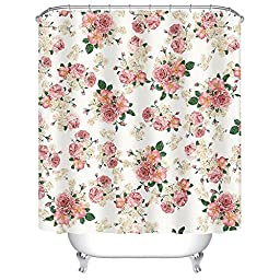 Uphome Pink Rose Flower with Leaves Customized Bathroom Shower Curtain - Pink Waterproof and Mildewproof Polyester Fabric Bath Curtain Design(72\