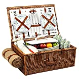Picnic at Ascot Dorset English-Style Willow Picnic Basket with Service for 4 and Blanket - Gazebo