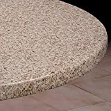 Large Round Vinyl Table Cover With Elastic Edge- Fits 58'' to 66'' Diameter Table (Granite)