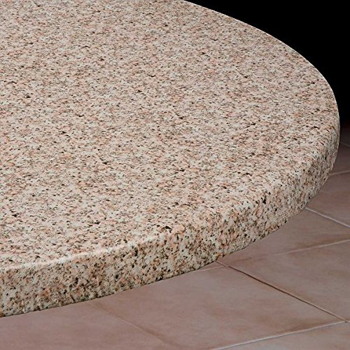 Large Round Vinyl Table Cover With Elastic Edge- Fits 58'' to 66'' Diameter Table (Granite) by DermaPAD
