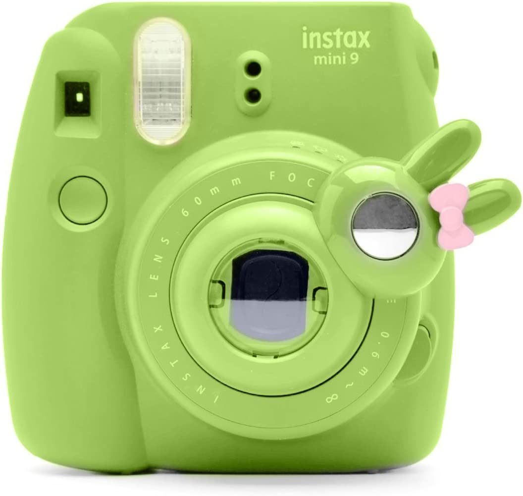 Cute Bunny Selfie and Close Up Lens Shot Mirror for Fujifilm Instax Mini9 Mini 8 Mini 8+ Hellokitty Instant Camera (Lime Green)