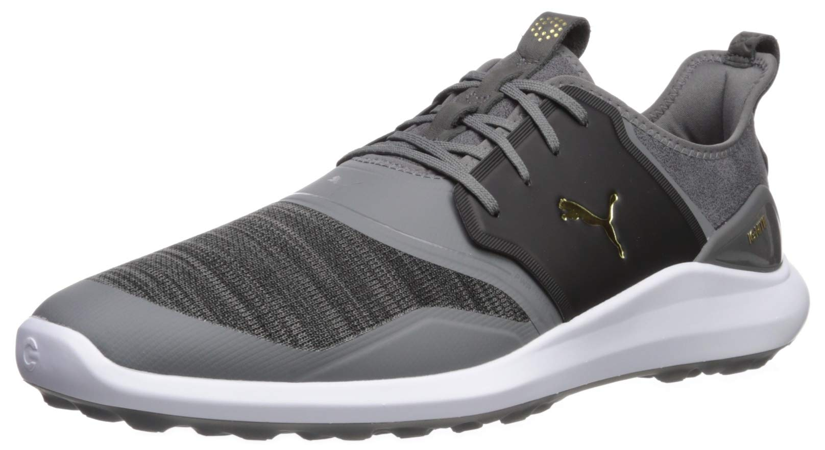 Puma Golf Men's Ignite Nxt Lace Golf Shoe, Quiet Shade Team Gold-Puma Black, 7.5 Wide US by PUMA