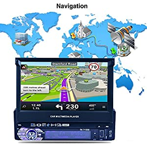 Reakosund 7 inch GPS player Universal Single Din Car Stereo Auto 7158G with retractabling automaticly function