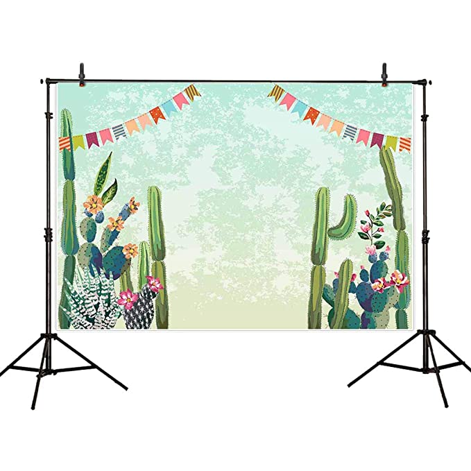 Allenjoy 7X5ft Cactus Party Backdrop Bridal Shower Fiesta Birthday Cactus Desert Party Watercolor Flowers Mexican Theme Birhhday Backdrop