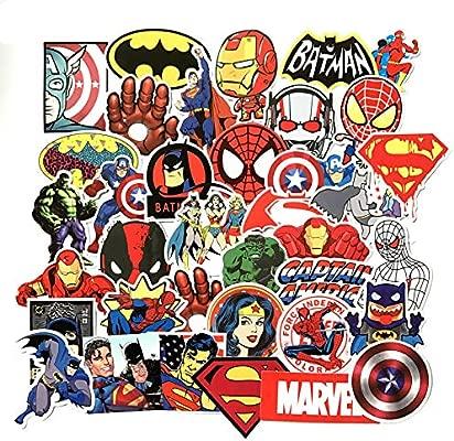Marvel DC Avengers Super Hero 50pcs Sticker Decal Pack Superman Hulk Spiderman Captain America Deadpool Vinyls for Laptop,Kids,Teens,Cars,Motorcycle,Bicycle,Skateboard Luggage,Bumper Stickers Hippie