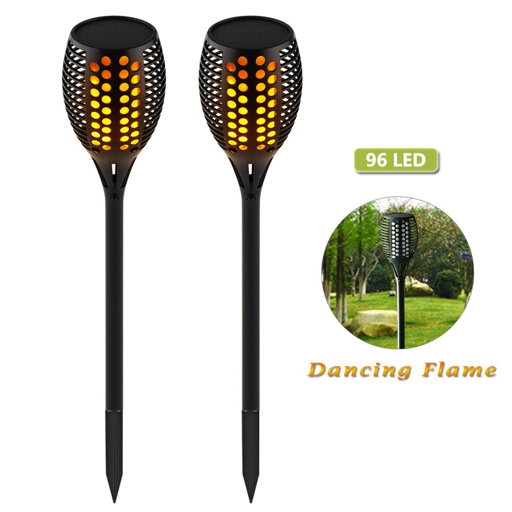 Wahom Solar Path Torches Light Outdoor Waterproof Dancing Flame Lighting 96 LED Flicking Tiki Torches Lights for Garden Patio Deck Yard Driveway Wedding Party (2)