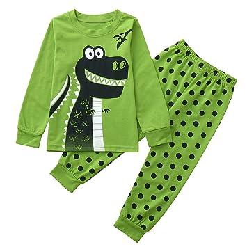 Green,5 Years Baby Boys Pyjamas Set,Toddler Long Sleeve Cartoon Dinosaur Print Tops Scales Pants Pants Sleepwear Outfits for 0-5 Years Old
