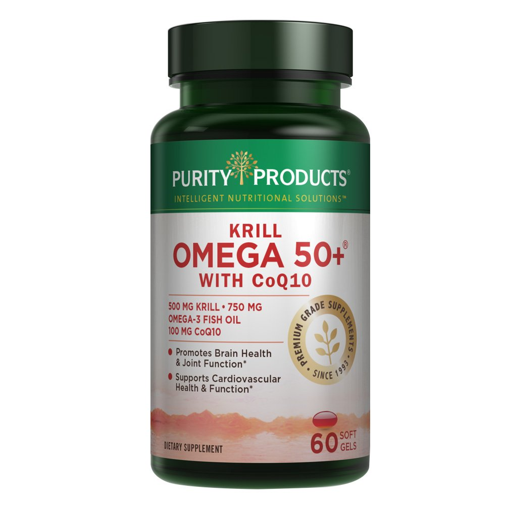 Purity Products - Krill Omega 50+ with CoQ10, 60 Dietary Supplement Softgels