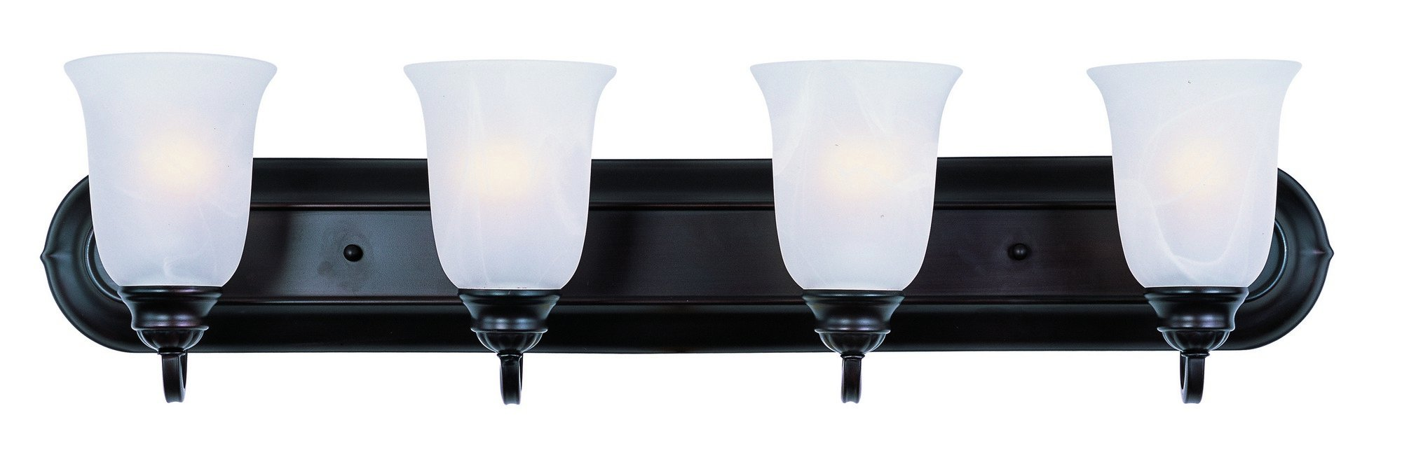 Maxim 7138MROI Essentials 4-Light Bath Vanity, Oil Rubbed Bronze Finish, Marble Glass, MB Incandescent Bulb, 13W Max, Dry Safety Rating, 2700K Color Temp, Glass Shade Material, 2700 Rated Lumens