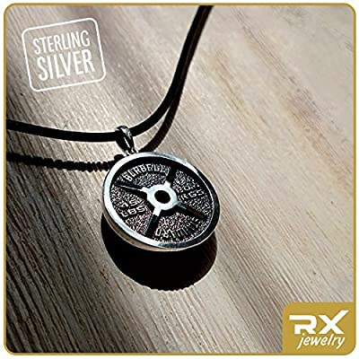 Fitness gift sport gift Barbell Standard sterling silver pendant Fitness jewelry Weight lifting pendant Weight plate Fitness motivation gift Bodybuilding Gym Exercise Powerlifting Body builder