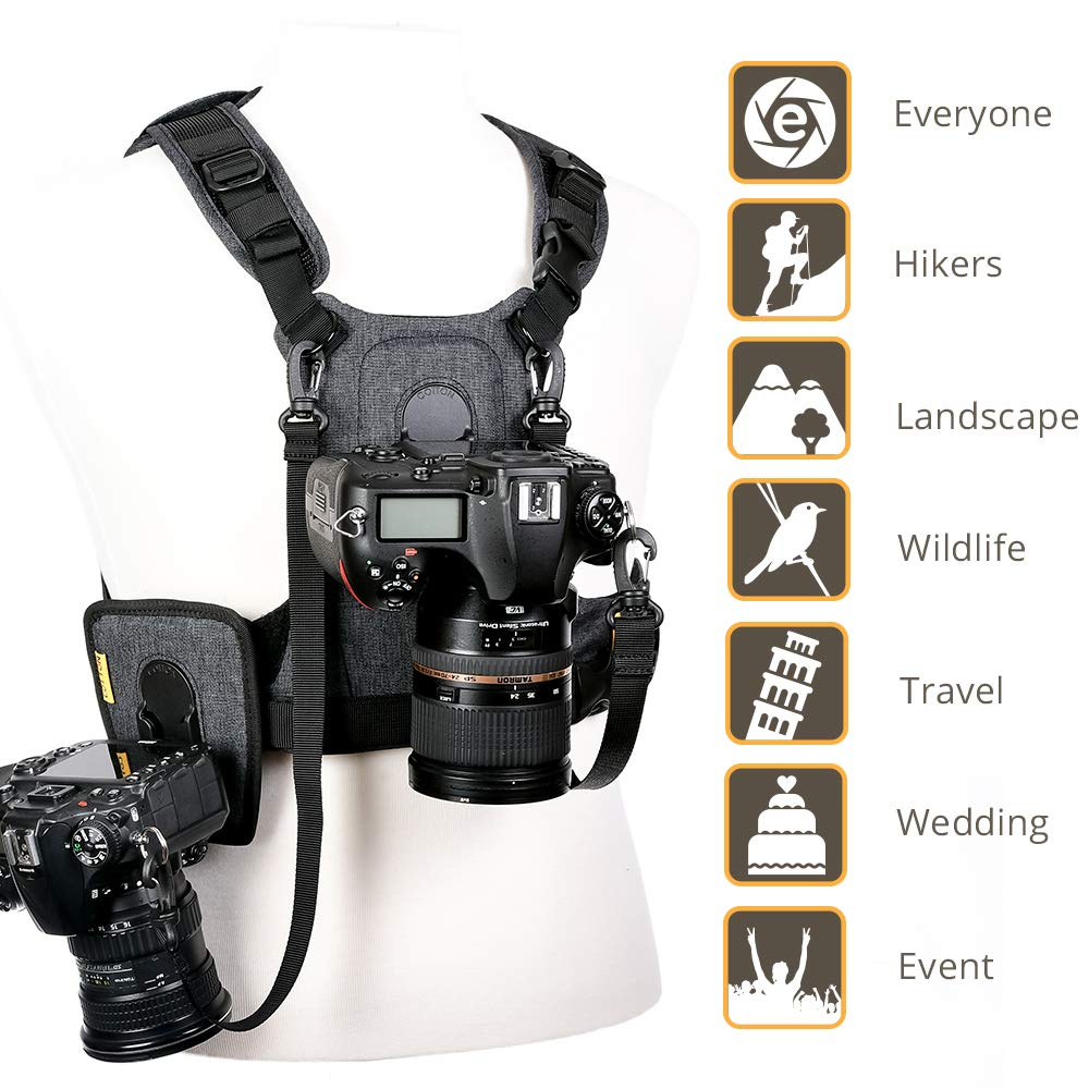 Cotton Carrier G3 Dual Camera Harness for 2 Camera's Gray by Cotton (Image #6)