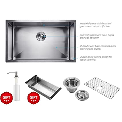 32 Inch Commercial Undermount Single Bowl Stainless Steel Kitchen Sink  Outer Lip Thickness 11 Gauge Basin