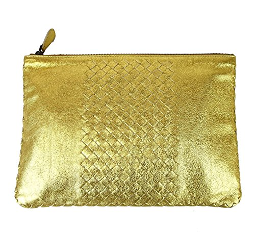 Bottega Veneta Gold Leather Clutch Woven Pouch Bag 302294 8417 by Bottega Veneta