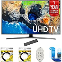 Samsung 48.5 4K Ultra HD Smart LED TV 2017 Model (UN49MU7000) with 2x 6ft High Speed HDMI Cable, Transformer Tap USB w/ 6-Outlet, Screen Cleaner for LED TVs & 1 Year Extended Warranty