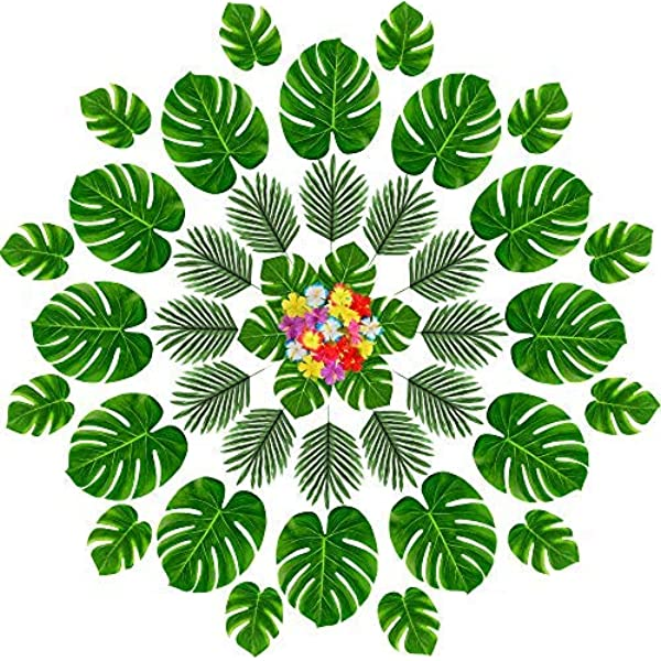 Amazon Com Momotoys 96 Pcs Tropical Party Decorations Supplies Tropical Palm Leaves Hibiscus Flowers Artificial Faux Monstera Leaves Stem Hawaiian Luau Tiki Safari Jungle Beach Aloha Birthday Party Table Decor Furniture Decor Urijk printed tropical leaves flower beach towel round microfiber beach towels for living room tropical plant leaves tapestry wall hanging polyester bohemia flowers print tapestry beach. momotoys 96 pcs tropical party