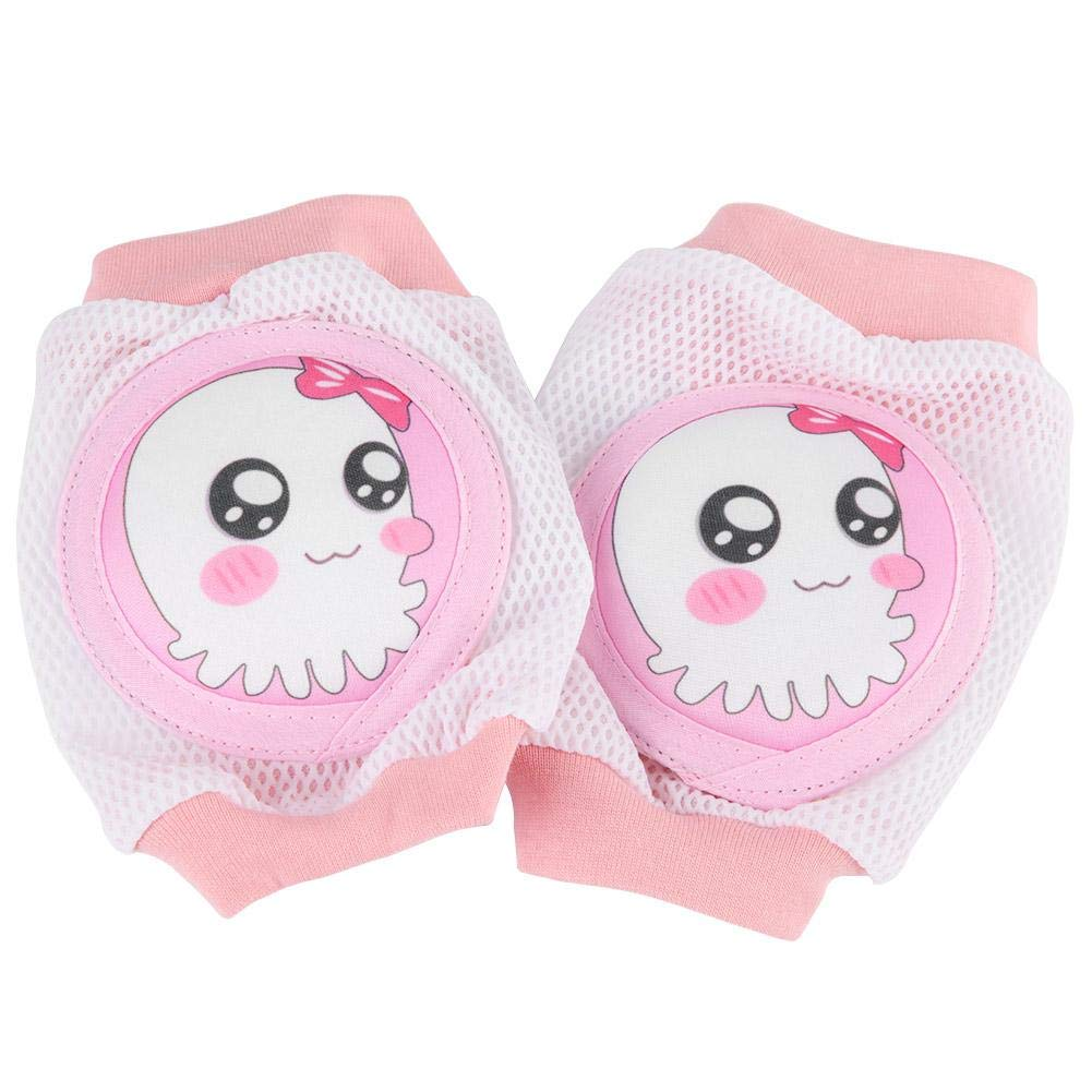 Unisex Baby Crawling Knee Pads Super Soft Breathable 3D Mesh Adjustable Cartoon Kneepads Infants Toddlers Knees Elbows Legs Safety Protector Cushion for Boys Girls Black