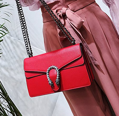 Rouge 27 Femme Petit 16 Carré Unique Sac amp;QIUMEI Sac Sac OME Épaule Croix 10cm Chaîne Oblique 1OxwH7q5F