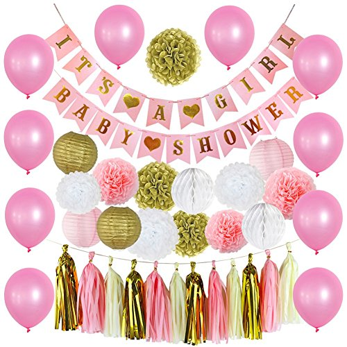 40 Pcs Baby Shower Decorations & White Tablecloth, Its A Girl & Baby Shower Banners, with Colorful Pompoms, Paper Lanterns, Balloons, Honeycomb -
