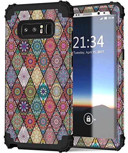 Hocase Galaxy Note 8 Case, Shockproof Heavy Duty Hybrid Silicone Rubber Bumper+Hard Shell Full Body Protective Phone Case w/Cute Mandala Floral Print for Samsung Galaxy Note 8 2017 - Black