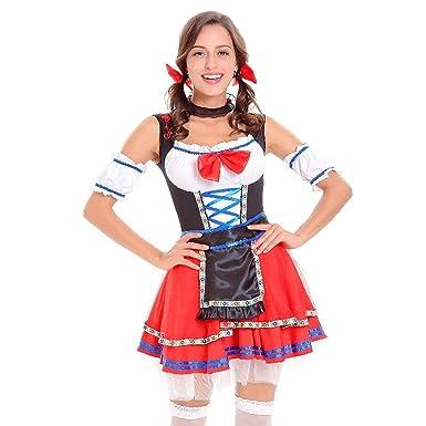55866c55ecaa2b bobo4818 Trachtenkleid Kleid Midi Dirndl aus Kollektion inkl.  Spitzenschürze: Amazon.de: Bekleidung